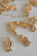 ★新商品★トルコの国花・細長いチューリップパーツ◆ゴールド